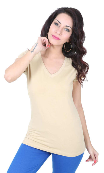 De Moza Ladies Knit Top Half Sleeve Cotton Lycra Solid Beige