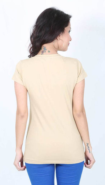 De Moza Ladies Knit Top Half Sleeve 95% Cotton 5% Elastane Plain Beige - De Moza