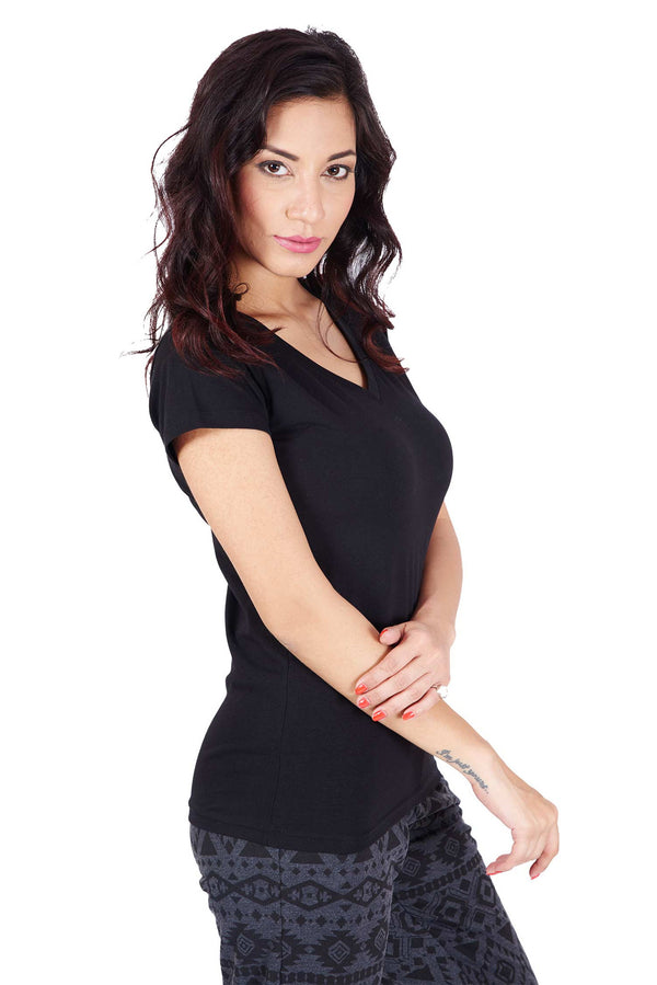 De Moza- Ladies Half Sleeve Black Top - De Moza