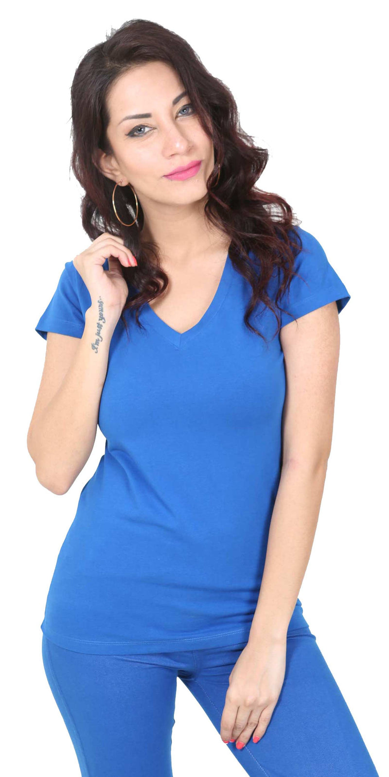 De Moza- Ladies Half Sleeve Plain Top Cobalt - De Moza