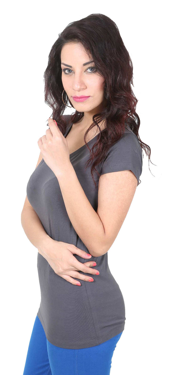 De Moza- Ladies Half Sleeve Dark Grey Top - De Moza