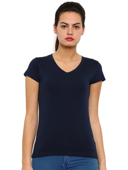 De Moza Women's Knit Top Half Sleeve Solid Cotton Lycra Dark Navy Blue - De Moza