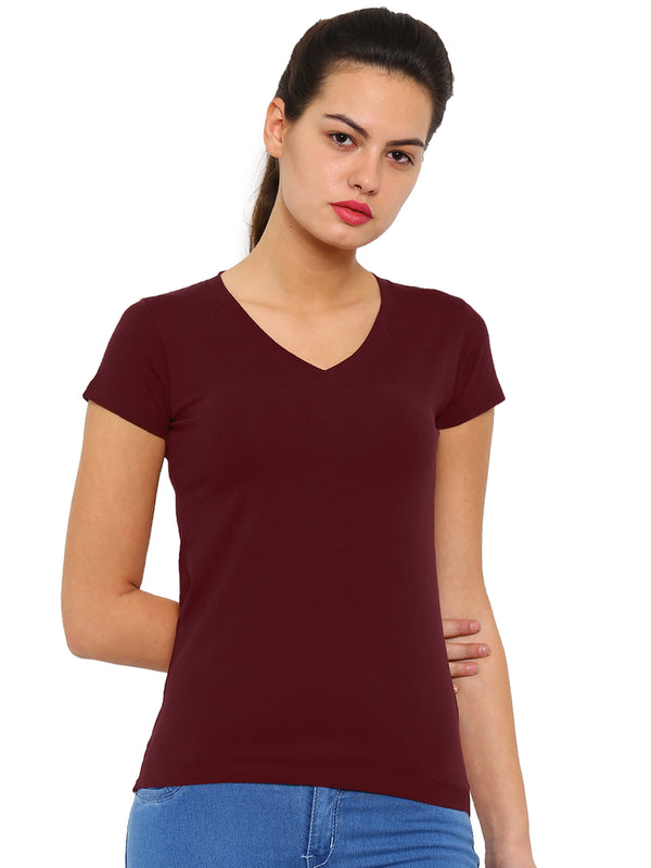De Moza Ladies Knit Top Half Sleeve Solid Cotton Lycra Maroon - De Moza