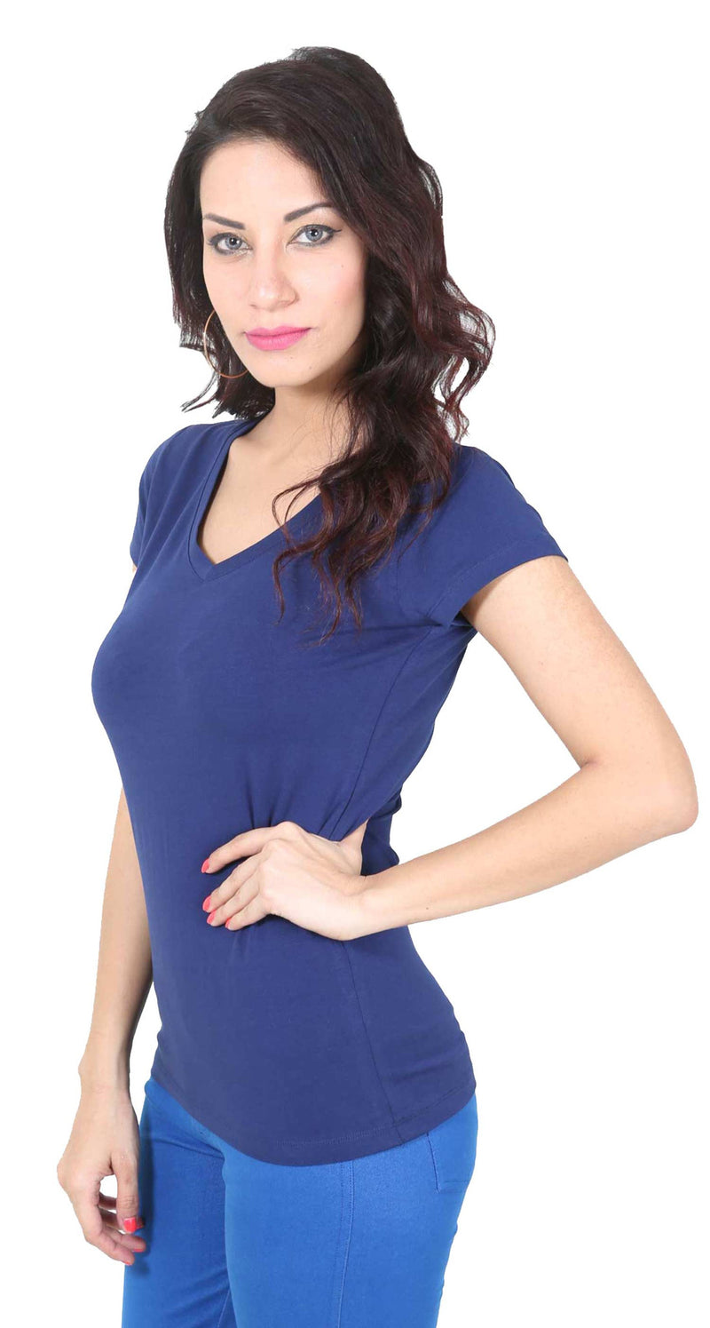De Moza- Ladies Half Sleeve Navy Blue Top - De Moza