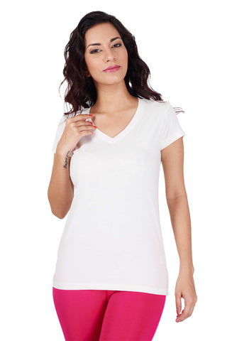 De Moza Ladies Knit Top Half Sleeve Solid Cotton Lycra Offwhite - De Moza