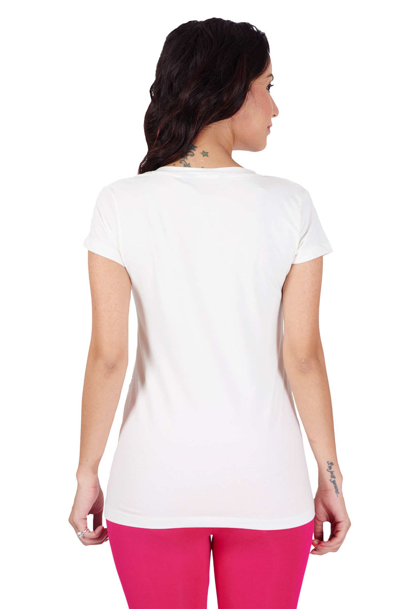 De Moza- Ladies Half Sleeve Offwhite Top - De Moza
