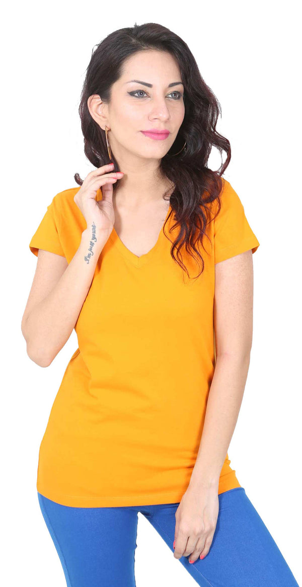 De Moza- Ladies Half Sleeve Top Dark Yellow - De Moza