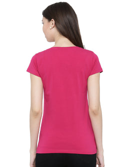 De Moza Ladies  Half Sleeve Cotton Lycra Fuchsia - De Moza