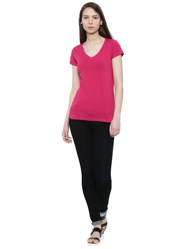 De Moza-Ladies V-Neck T-shirt Fuchsia - De Moza
