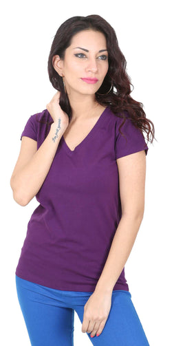 De Moza Ladies Knit Top Half Sleeve Cotton Lycra Solid Purple