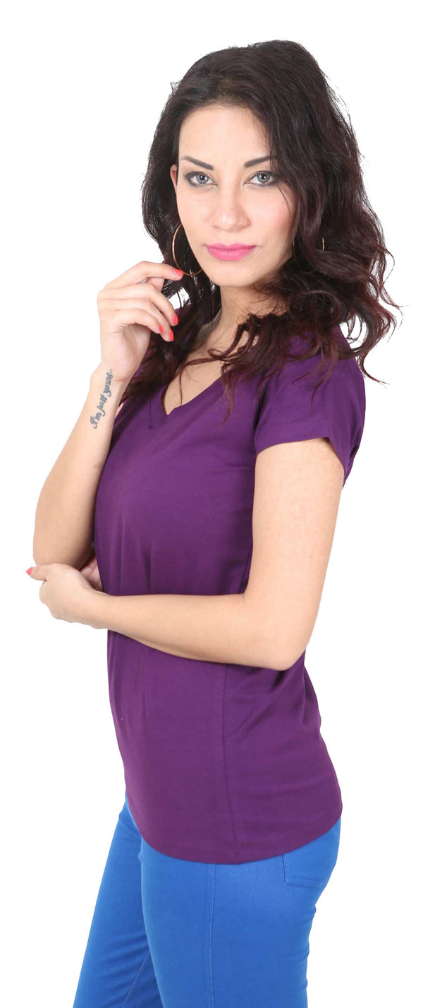 De Moza- Ladies Half Sleeve Purple Top - De Moza