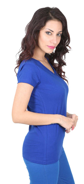 De Moza Ladies Knit Top Half Sleeve 95% Cotton 5% Elastane Plain Royal Blue - De Moza