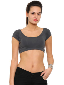 De Moza Ladies Knit Top HS Crop Dark Grey - De Moza