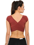 De Moza Ladies Knit Top HS Crop Marsala - De Moza