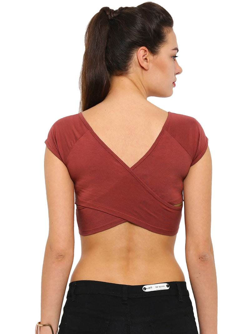 De Moza- Ladies Crop Top Marsala - De Moza