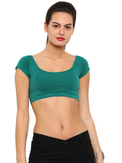 De Moza Ladies Knit Top HS Crop Cotton Lycra Solid Teal Green