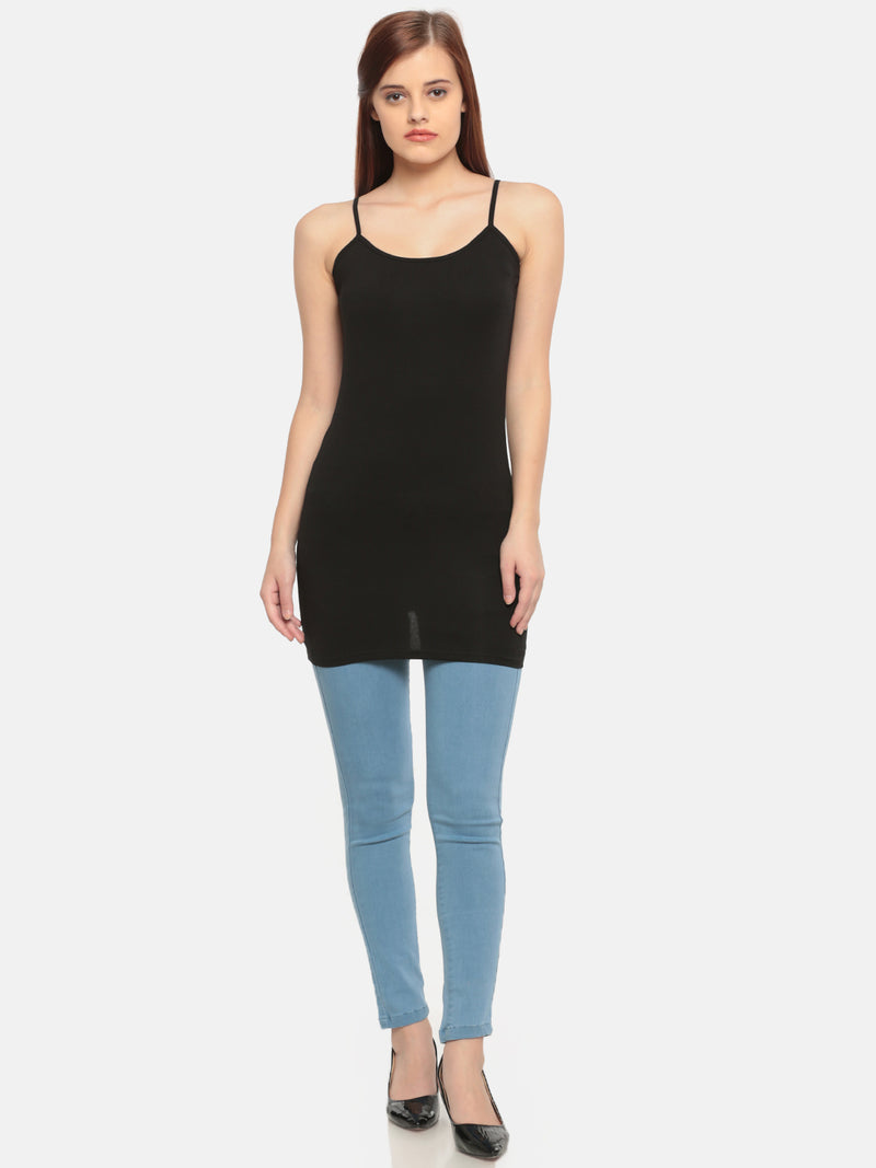 De Moza Women's Black Long Spaghetti Top - De Moza