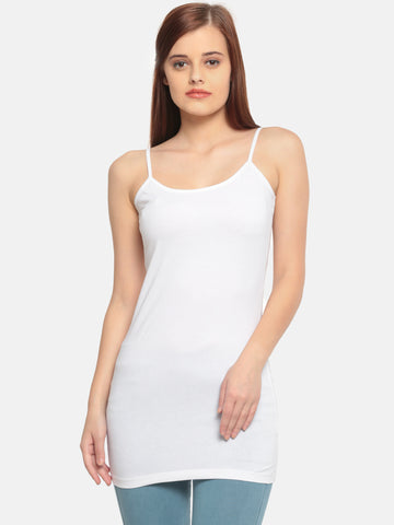 De Moza Women's White Long Spaghetti Top - De Moza