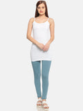 De Moza Ladies Knit Top Spaghetti Long Cotton Lycra Solid White