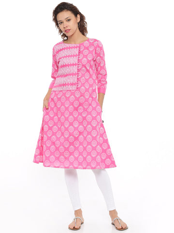De Moza Ladies Kurta 3/4th Sleeve Printed Cotton Flex Pink - De Moza