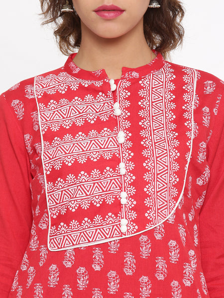 De Moza Ladies Kurta 3/4th Sleeve Printed Cotton Flex Red - De Moza