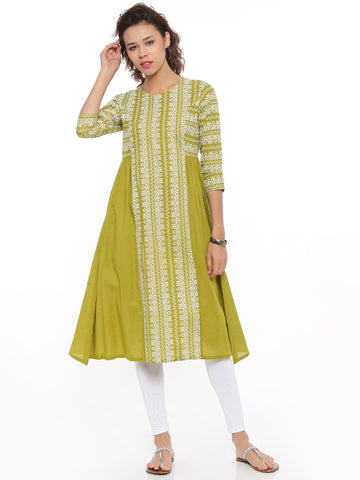 De Moza Ladies Kurta 3/4th Sleeve Printed Cotton Lime - De Moza