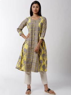 Silhouettes - Ladies Yellow with Grey Printed Round Neck Kurta