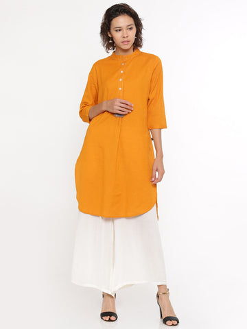 De Moza- Ladies Kurti 3/4th Sleeve Mustard - De Moza