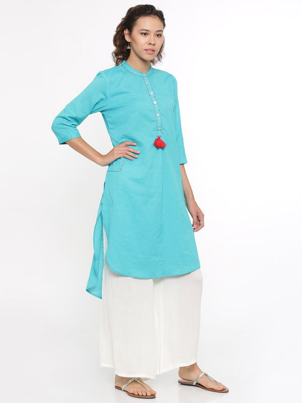 De Moza- Ladies Kurti Blue 3/4th Sleeve - De Moza