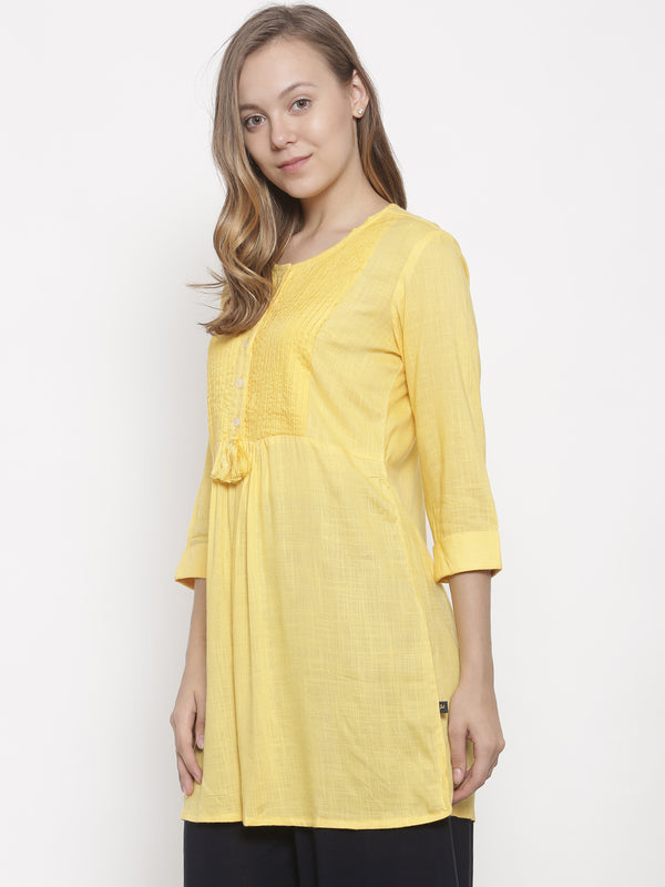 De Moza- Ladies Kurti 3/4th Sleeve Yellow - De Moza