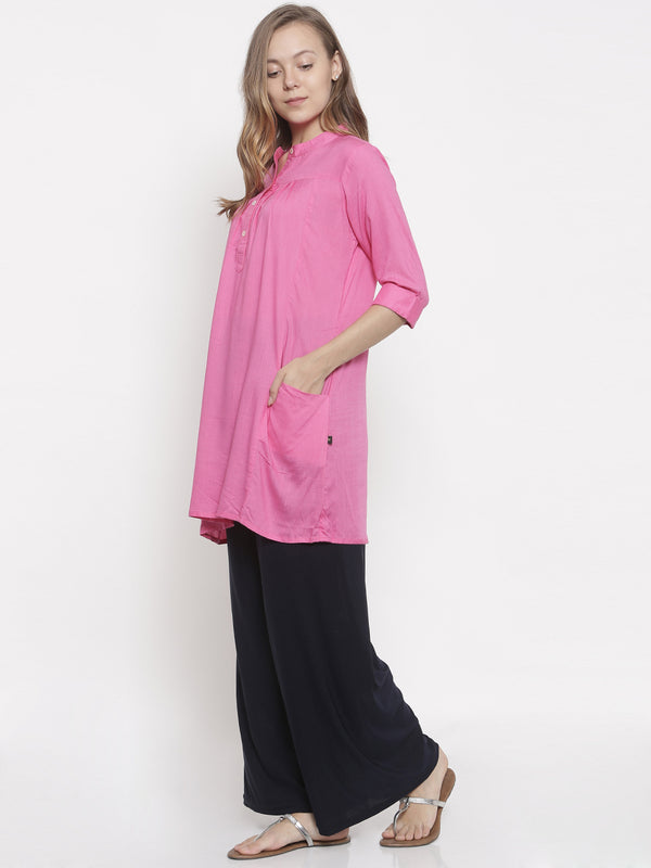 De Moza- Ladies Kurti 3/4th Sleeve Pink - De Moza
