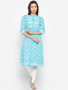De Moza Ladies Kurta Cotton Printed 3/4th Sleeve Blue - De Moza