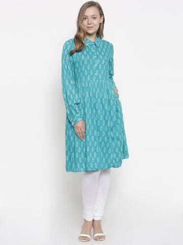 De Moza Ladies Kurti Rayon Printed Full Sleeve Teal Green - De Moza