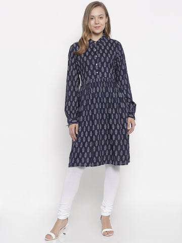 De Moza Ladies Kurti Rayon Printed Full Sleeve Navy - De Moza
