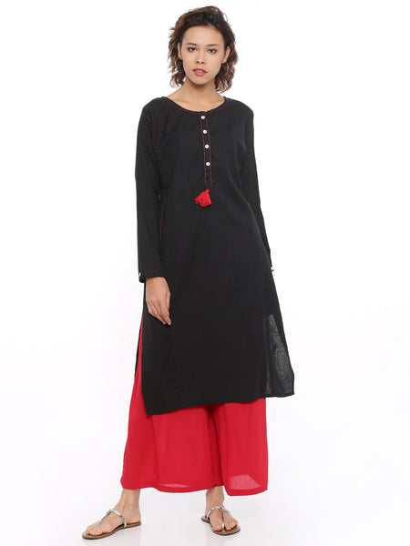 De Moza Ladies Kurta Full Sleeve Solid Cotton Flex Black - De Moza