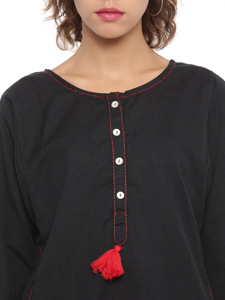 De Moza Ladies Kurta Full Sleeve Solid Cotton Flex Black