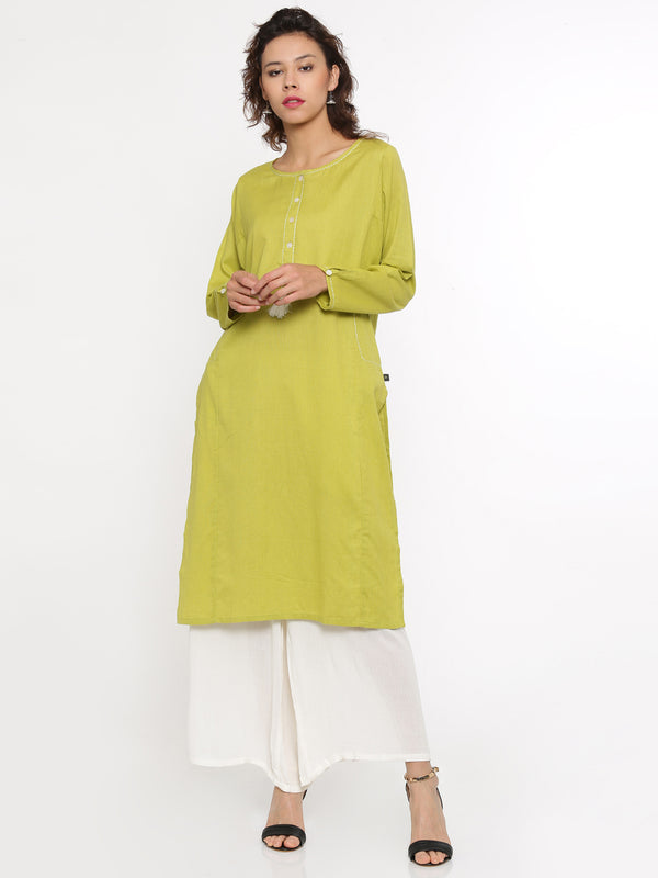 De Moza- Ladies Full Sleeve Lime Kurta - De Moza
