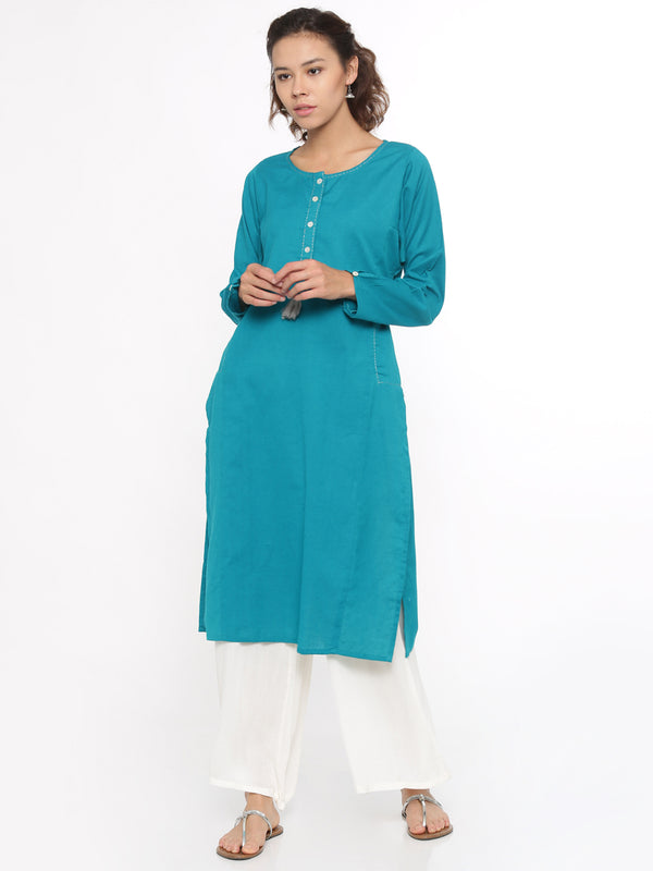 De Moza- Ladies Full Sleeve Kurta Teal Green - De Moza