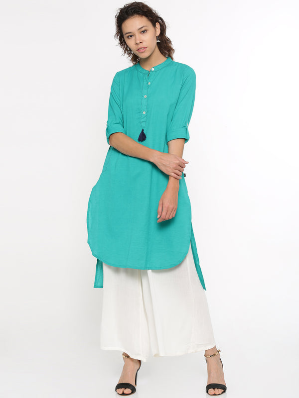 De Moza Ladies Kurti Full Sleeve Solid Cotton Flex Teal Green - De Moza