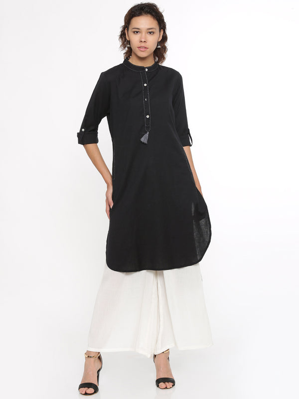 De Moza Ladies Kurti Full Sleeve Solid Cotton Flex Black - De Moza