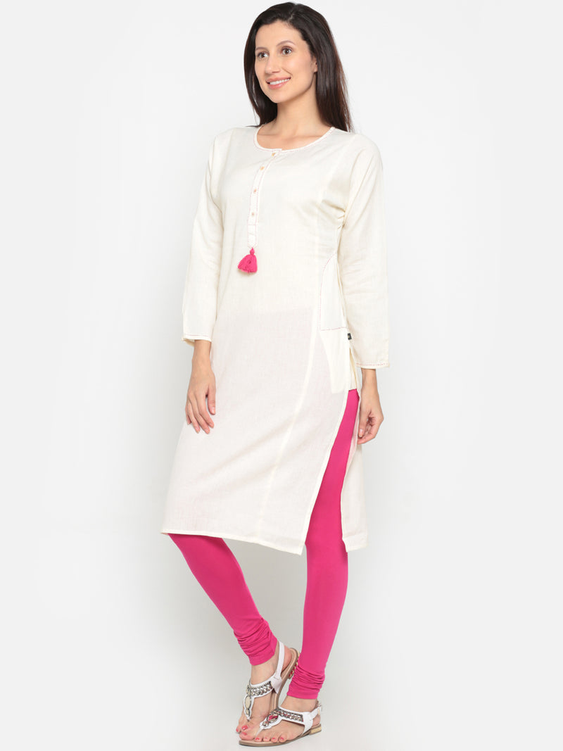 De Moza- Ladies Kurta Solid White - De Moza