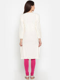 De Moza Ladies Kurta Cotton Flex Solid Full Sleeve White - De Moza