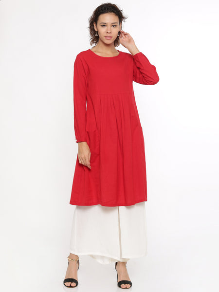 De Moza Ladies Kurti Full Sleeve Solid Cotton Flex Red - De Moza