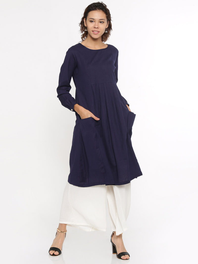 De Moza Ladies Kurti Full Sleeve Solid Cotton Flex Navy - De Moza