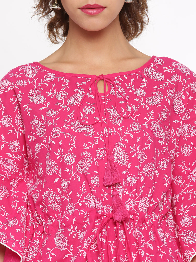 De Moza Ladies Kurti Kaftan Sleeve Printed Cotton Peach - De Moza