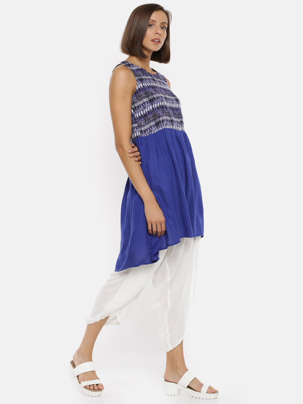 De Moza Ladies Sleeveless Cobalt Kurta. - De Moza