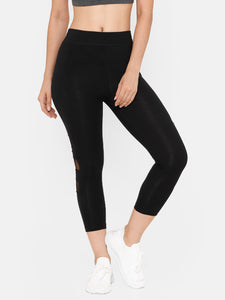 De Moza Women's 3/4Th Length Leggings Solid Cotton Black - De Moza
