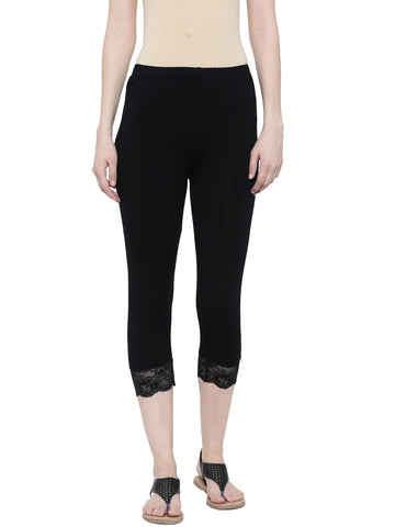 De Moza Ladies Leggings 3/4th Leggings Viscose Lycra Black - De Moza