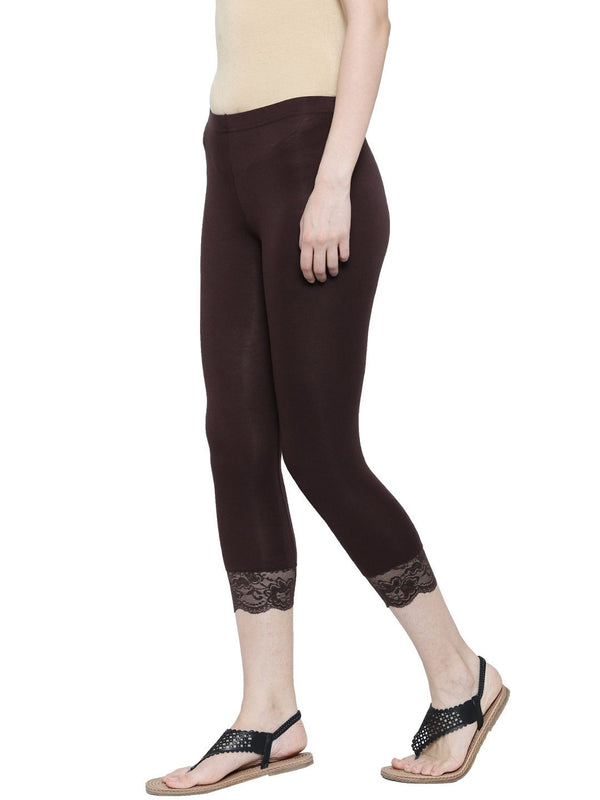 De Moza Ladies 3/4th Leggings Brown - De Moza