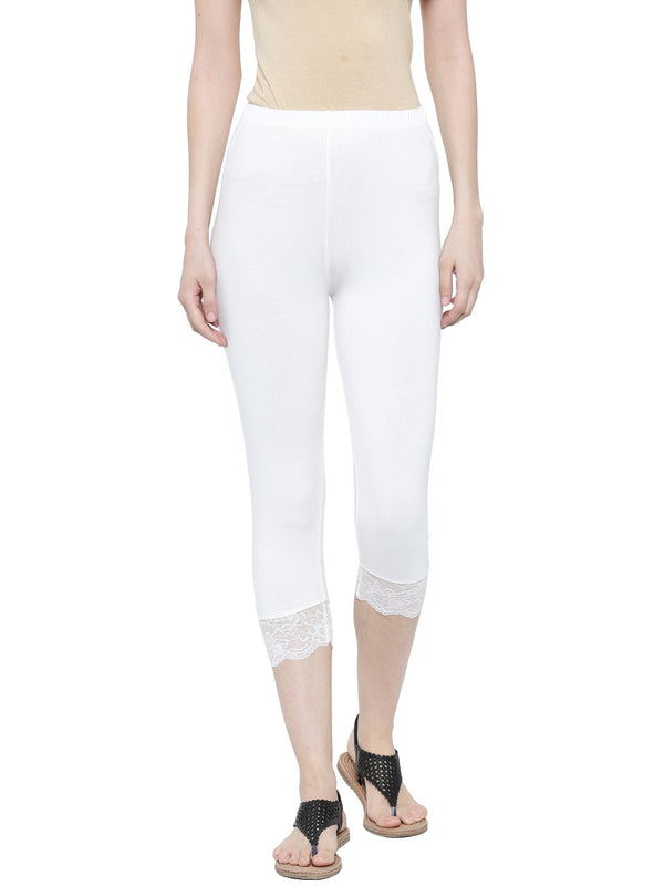 De Moza Ladies 3/4th Leggings White - De Moza